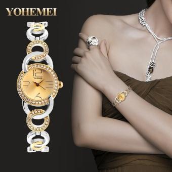 YOHEMEI 0192 New Luxury Women Fashion Elegant Wristwatches Rhinestone Quartz Watch - Gold - intl