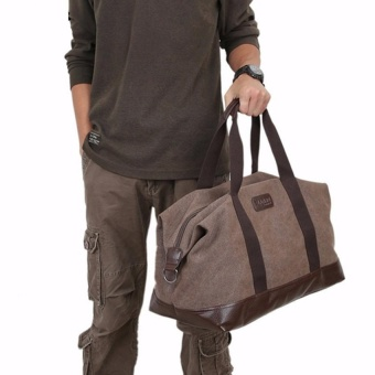 YSLMY Vintage Men Large Canvas Handbag Gym Travel Shoulder Sports Bag Duffle Luggage Coffee - intl