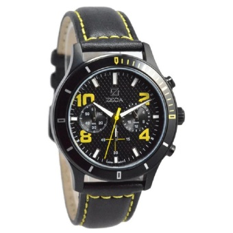Zeca Jam Tangan Pria Black Yellow Leather Strap 229M-LBL-C-BL2