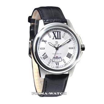 Zeca - Z261M - Jam Tangan Pria - Leather Strap (Black White)
