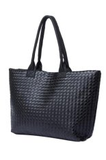 Lady Leather Lattice Knit Weave Zipper Shoulder Handbag Purse Black