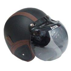 Matrix Helm - Helm Bogo Retro Hitam Garis Coklat