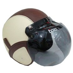 Matrix Helm - Helm Bogo Retro Light Krem Coklat