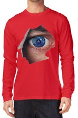 T-Shirt Glory Kaos 3D EYE Lengan Panjang Red - Merah
