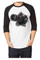 T-Shirt Glory Kaos 3D Shoot Me Raglan Putih Hitam - Hitam